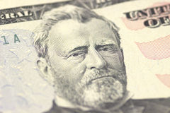 Ulysses S. Grant face on US fifty or 50 dollars bill macro, united states money closeup. Stock Images