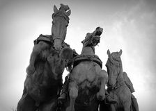 Ulysses S. Grant Memorial. A view of three horse statues from below as they charge forward. Part of the Ulysses S. Grant Memorial behind the Capitol Building in royalty free stock images