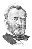 Ulysses S. Grant portrait. Gravure of Ulysses S. Grant in front of the fifty dollar banknote royalty free stock photo