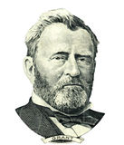 Ulysses S. Grant portrait cutout (Clipping path). Portrait of U.S. statesman, inventor, and diplomat Ulysses S. Grant as he looks on fifty dollar bill obverse Royalty Free Stock Photos