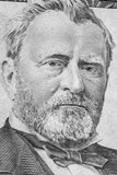 Ulysses S. Grant Portrait. Portrait of former United State President Ulysses S. Grant as he appears on a fifty dollar bill stock images