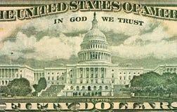 Ulysses S Toelagegezicht op de macro van de de dollarsrekening van de V.S. vijftig of 50 Stock Foto