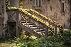 Um Ähnliches zu sehen, besuchen Sie bitte meine Galerie Eingangsterrasse mit Blumendekor Lizenzfreies Stockfoto