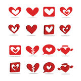 Um ícone coração-dado forma vermelho 2D - 3D Imagem de Stock Royalty Free