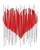Um 2D coração chanfrado vermelho em tiras verticais. Coração quebrado. Imagens de Stock