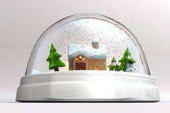 Um 3D rende de um snowglobe Fotografia de Stock Royalty Free