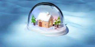 Um 3D rende de um snowglobe Fotos de Stock Royalty Free