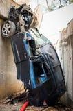 Um acidente terrível na estrada das montanhas Fotografia de Stock Royalty Free