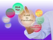 Um acionista que toca no benefício do ouro no diagrama do portfólio sobre Fotografia de Stock Royalty Free