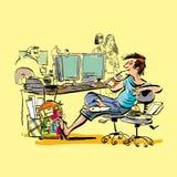 Um adolescente no trabalho ri de repreensões e de ataques de suas faculdades irritadas Adolescente preguiçoso no trabalho ilustração royalty free