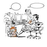 Um adolescente no trabalho ri de repreensões e de ataques de suas faculdades irritadas Adolescente preguiçoso no trabalho ilustração stock
