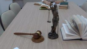 Um advogado no local de trabalho examina documentos e legislação vídeos de arquivo