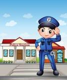 Um agente da polícia na frente de uma esquadra de polícia ilustração royalty free