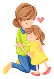 Um amor de uma mãe e de uma filha ilustração do vetor
