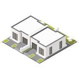 Um andar conectou a casa de campo com o grupo isométrico do ícone do telhado liso ilustração stock