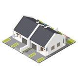 Um andar conectou a casa de campo com o telhado inclinado para o grupo isométrico do ícone de duas famílias ilustração stock