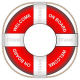 Um anel de vida com o titânico com a inscrição é bem-vindo a bordo ilustração royalty free