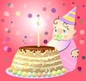 Um aniversário comemora o bebê do bolo Fotografia de Stock Royalty Free
