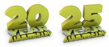 um aniversário de 20 e 25 anos Imagem de Stock Royalty Free