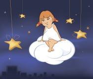 Um anjo pequeno bonito Uns desenhos animados da menina Imagens de Stock Royalty Free