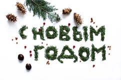 Um ano novo feliz do sinal no russo Fotos de Stock