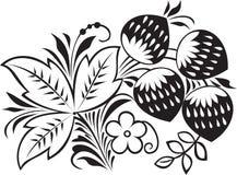 Um arbusto de uma morango com folhas, flores e seja Imagens de Stock