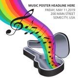 Um arco-íris da música flui de uma caixa da guitarra Imagem de Stock Royalty Free