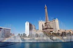 Um arco-íris sobre as fontes no hotel de Bellagio e no casino Las Vegas Fotografia de Stock