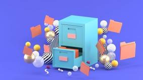 Um armário do documento cercado por bolas coloridas em um fundo roxo ilustração stock