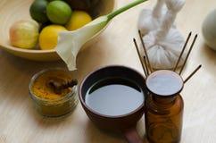 Um arranjo da especiaria, óleo e ferramentas da massagem usadas em Ayurved Fotografia de Stock