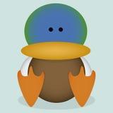 Um assento bonito do pato selvagem dos desenhos animados do vetor isolado Fotografia de Stock Royalty Free