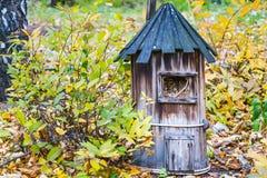 Um aviário para pássaros das placas idosas marrons está em um solo com as folhas verdes e amarelas imagem de stock