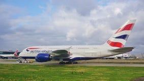 Um avião de Airbus A380 de British Airways (VAGABUNDOS) Imagem de Stock