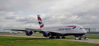 Um avião de Airbus A380 de British Airways (VAGABUNDOS) Fotografia de Stock
