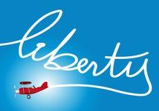 Um avião inscreeu no céu a liberdade da palavra ilustração stock
