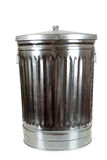 Um balde do lixo de prata no branco Fotografia de Stock