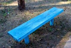Um banco de madeira azul em um parque Imagem de Stock Royalty Free