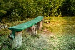 Um banco de madeira vazio em um campo de grama verde foto de stock
