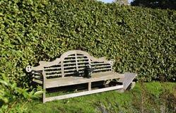 Um banco de madeira velho e molhar-pode fotos de stock royalty free