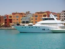 Um barco de motor luxuoso fotos de stock royalty free