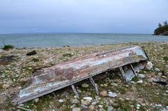 Um barco de pesca de madeira velho, Rússia. Fotos de Stock
