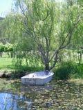 Um barco em uma lagoa, amarrada a uma árvore Fotos de Stock