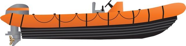 Um barco inflável alaranjado e preto Fotos de Stock