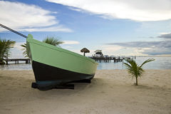 Um barco na praia Imagem de Stock