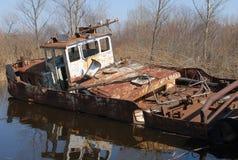 Um barco velho em Chernobyl Fotos de Stock Royalty Free