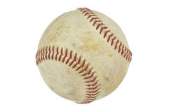 Um basebol velho isolado no branco Foto de Stock