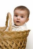 Um bebê em uma cesta. Fotografia de Stock