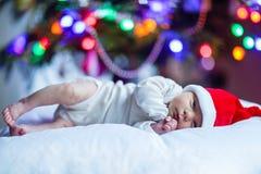 Um bebê recém-nascido semanas de idade no chapéu de Santa perto da árvore de Natal Fotografia de Stock Royalty Free