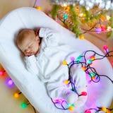 Um bebê recém-nascido semanas de idade que dorme perto da árvore de Natal Foto de Stock Royalty Free