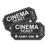 Um bilhete do filme, um bilhete retro do cinema Um cinema Foto de Stock